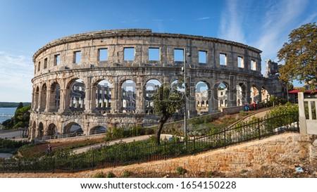 Pula Arena (Pulska Arena, Arena di Pola) - one of the largest preserved Roman Amphitheatres located in Historical Center of Pula, Istria, Croatia