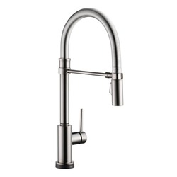 Pull Down Single Handle Swivel Spout Kitchen Faucet Isolated on White. Chrome Hot and Cold Single Lever Water Mixer. Black Stainless Steel Instant Single-Hole Deck Moun Sink Tap with Dispenser Sprayer