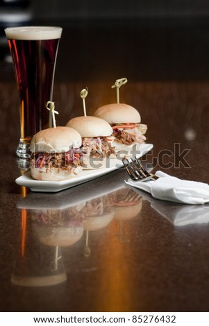 Pulled Pork Mini Sandwiches and beer - stock photo