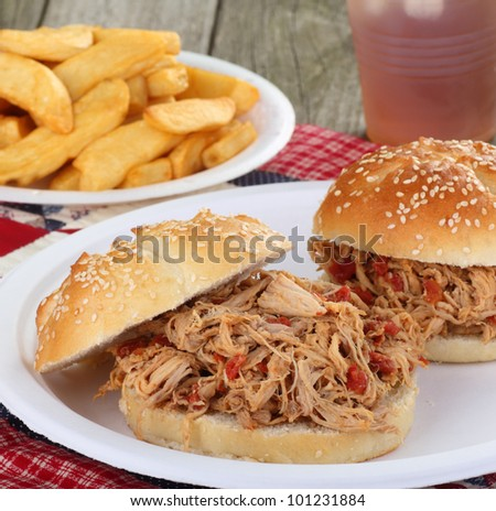 Pulled pork sandwich on a bun with french fries
