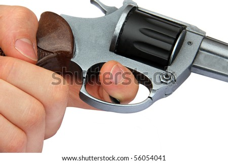 Pulling the trigger: handgun being held with focus on the trigger