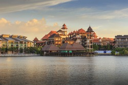 Pullman Restaurant Lakeside in evening time Putrajaya, Malaysia