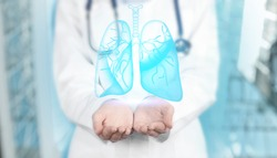 Pulmonology treating respiratory diseases - bronchitis, tuberculosis, asthma, emphysema, pneumonia and chest infection. Physician with lungs illustration, banner design