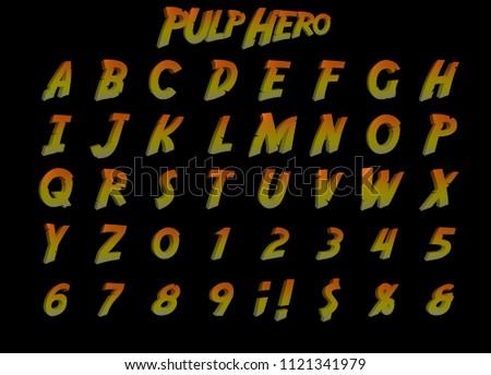 Pulp Hero Adventure alphabet - 3D Illustration angled