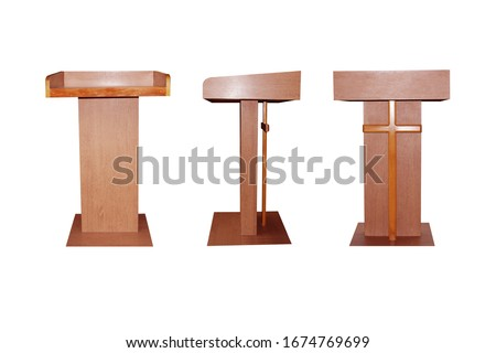 Pulpit made by wood on white background Zdjęcia stock ©