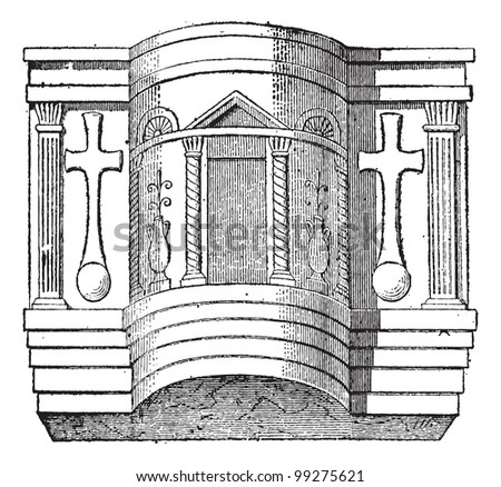 Pulpit of the Cathedral of Ravenna, vintage engraved illustration. Dictionary of words and things - Larive and Fleury - 1895.