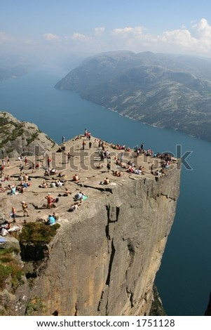 Pulpit Rock at Lysefjorden in Norway. A well known tourist attraction towering 600 meters over sea level.