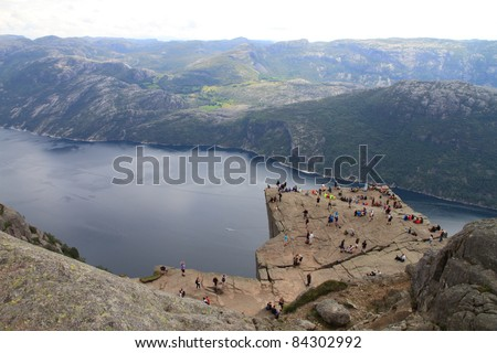 Pulpit Rock at Lysefjorden in Norway. A well known tourist attraction towering 604 meters over sea level.
