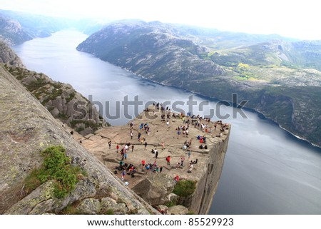 Pulpit Rock at Lysefjorden in Norway. A well known tourist attraction towering 604 meters over sea level