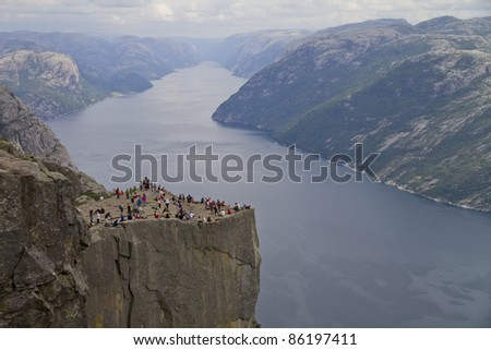 Pulpit Rock at Lysefjorden (Norway). A well known tourist attraction towering 604 meters over sea level