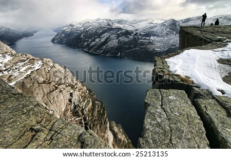 Pulpit Rock, view on the Lysefjord, Norway - stock photo