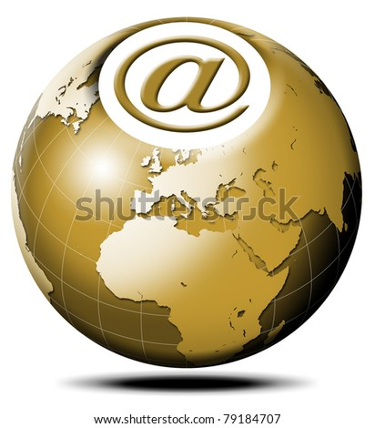 Pulsating icon with symbol e-mail and terrestrial globe