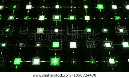 Photo of  Pulsating squares on black background. Animation. Electronic squares pulsate with connected lines on black background. Cyber field with networks and pulsing neon cells