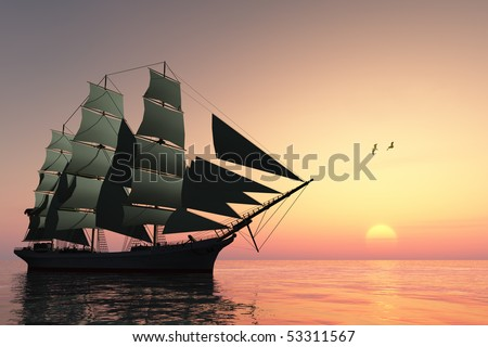 PULSE OF LIFE - A tall clipper ship sails on calm waters at sunset.