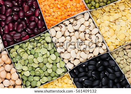 Pulses food background, assortment  - legume, kidney beans, peas, lentils in square cells closeup top view. Healthy protein food. Stock photo ©