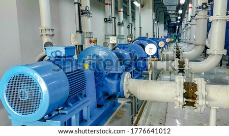 Pump and motor which popular to install with pipe in industrial such chemical, power plant. Foto stock ©