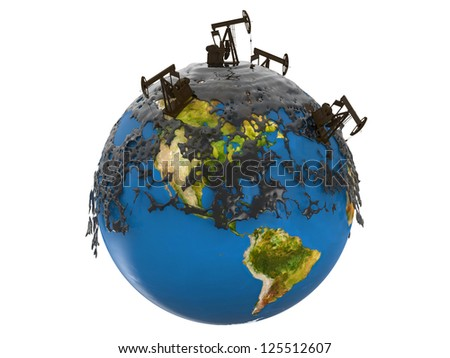 Pump jack and oil spill over planet earth isolated on white background, Elements of this image furnished by NASA