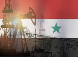 Pump jack, USD dollar notes and Syrian flag background. Crude oil and petroleum concept