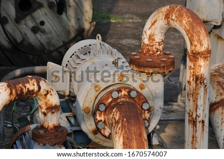 Pump motor, Standby for fire fighting starts with a jockey pump to maintain the water pressure in the fire hose. And a big pump motor that will increase the pressure when using more water. stock photo