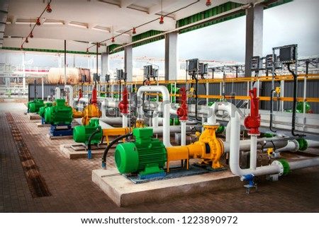 pumping equipment at the modern oil tank farm