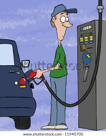 Pumping gas these days. Filling your tank, draining your bank account.