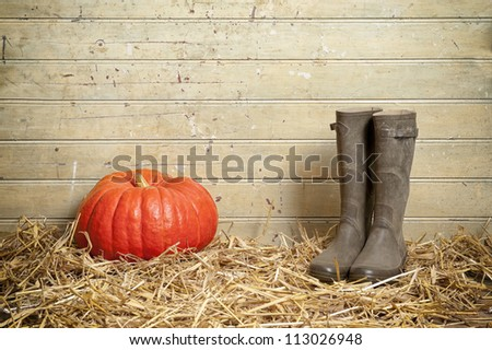 pumpkin  and boots on a floor with straw