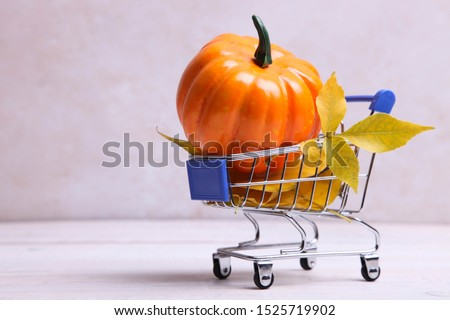Pumpkin and dry leaves in supermarket trolly on neutral background. Concept Thanksgiving Day. Copy space.