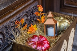 Pumpkin and latern in wooden box, decoration for halloween background