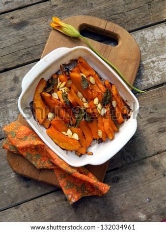 Pumpkin baked with sage and spices