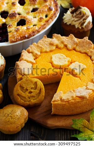 Pumpkin baking for the holiday Thanksgiving and Halloween.