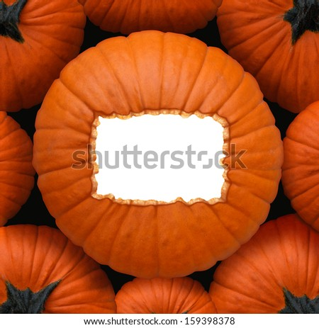 Pumpkin blank sign as a Halloween and thanksgiving celebration concept as a group of orange pumpkins and a centerpiece with a white copy space frame for a harvest time celebration message.