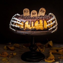 Pumpkin Cheesecake with Festive Halloween Decoration, square, copy space for your text