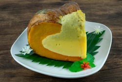 Pumpkin Egg Custard wtih Coconut Milk Steamed Thai Dessert delicious dish decorate carved spring onion little flower sideview