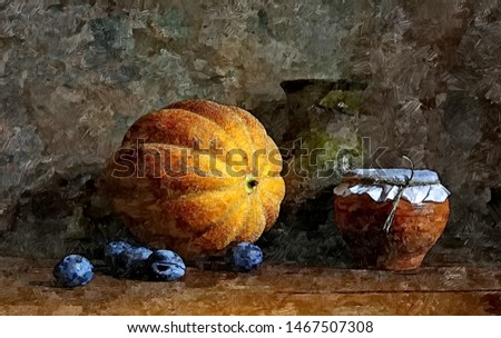 Pumpkin for Halloween. Rustic still life. Painting wet watercolor on paper. Naive art. Abstract art. Rustic still life. Drawing watercolor on paper.