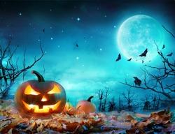 Pumpkin Glowing At Moonlight In The Spooky Forest - Halloween Scene