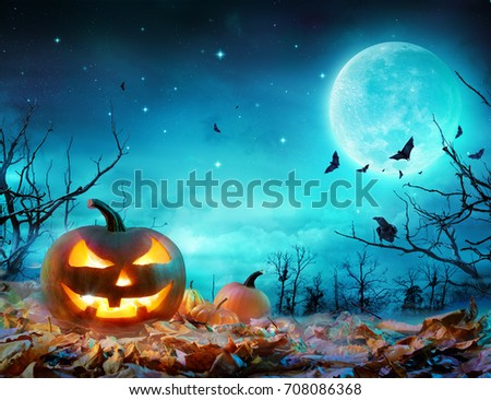 Pumpkin Glowing At Moonlight In The Spooky Forest - Halloween Scene #708086368
