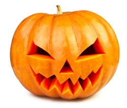 pumpkin halloween Jack O'Lantern isolated white
