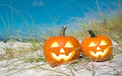 Pumpkin Halloween Jack-o-lantern party on the beach. Trick or treat Happy Halloween. Autumn season. On background ocean. Autumn in Florida. Fall season. Copy space.