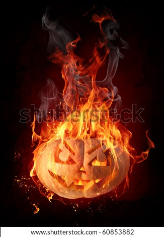 Pumpkin in flames