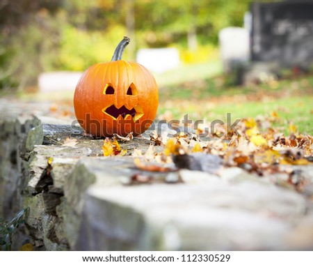 Pumpkin in graveyard with autumn leaves