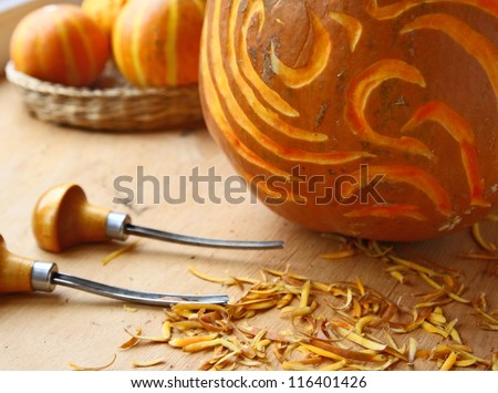 Pumpkin-lantern decorated a screw-thread to the holiday halloween