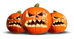 Pumpkin monster group with three scary pumpkins on a white background as a concept  and symbol for a creepy advertisement and marketing announcement for a harvest time party.