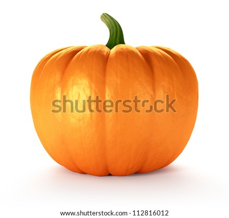 Pumpkin on white background, 3d render - stock photo