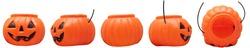 Pumpkin on white background. The main symbol of Happy Halloween celebration. Orange pumpkin with smile for your design for Halloween celebration.Vector illustration.