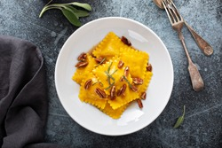 Pumpkin or butternut squash tortellini with brown butter and pecans