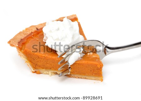 pumpkin pie and fork - stock photo