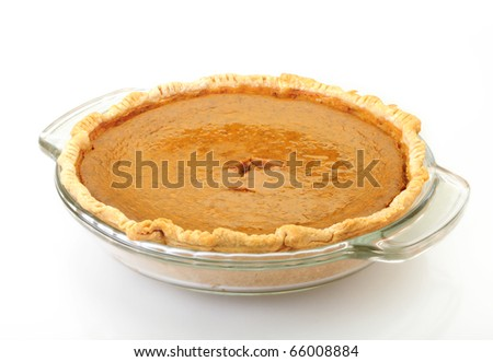 Pumpkin Pie isolated on white background with reflection