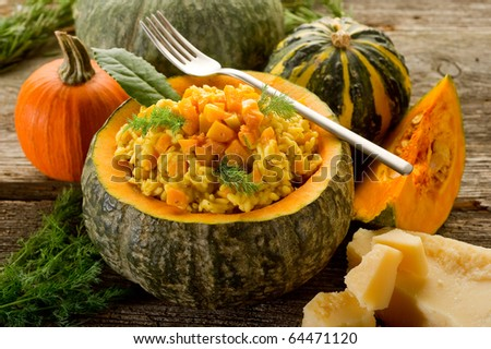 pumpkin risotto with fork
