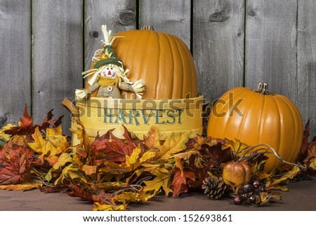 Pumpkin scene surrounded by fall colored leaves.