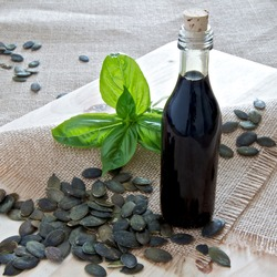 Pumpkin seeds and Pumpkin Seed Oil with basil